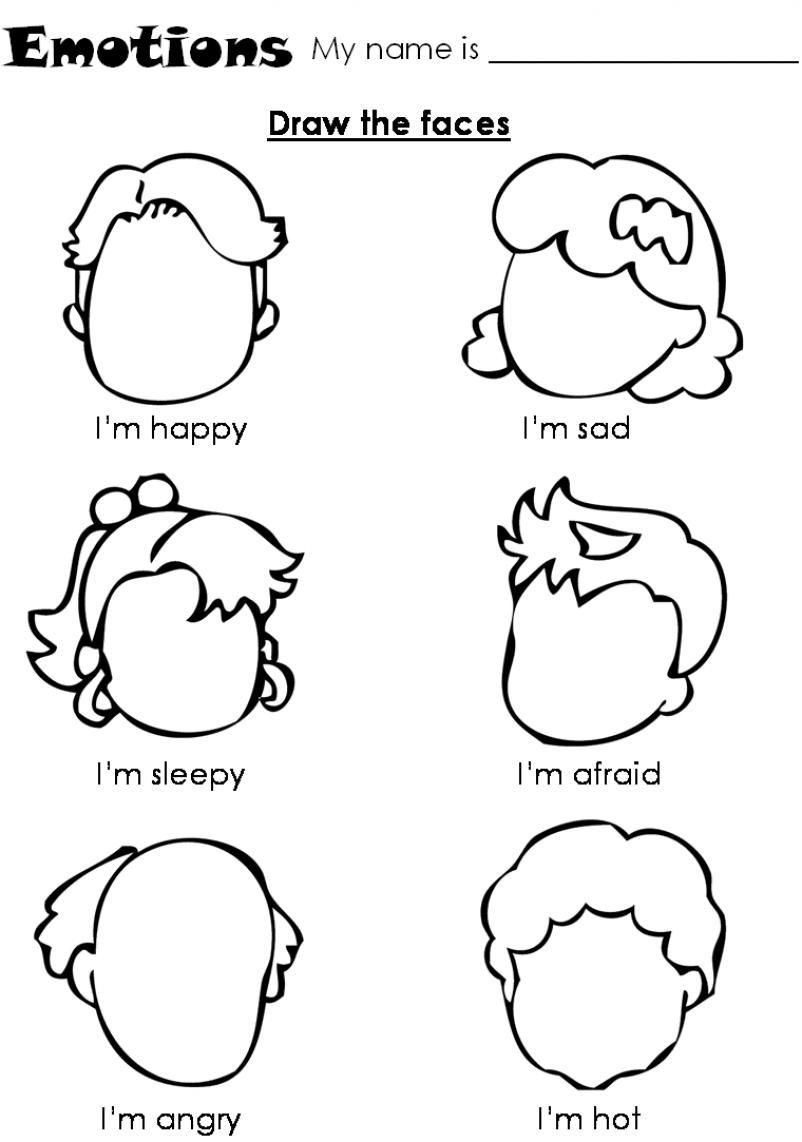 Feelings and Emotions Worksheets Printable Emotions Worksheet for Children Draw the Faces