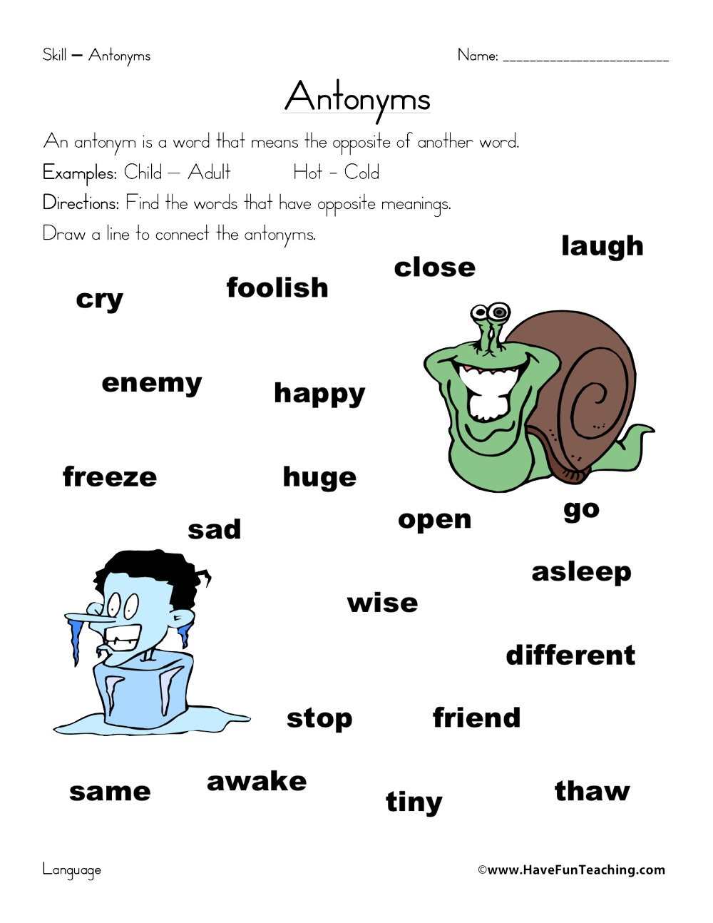 First Grade Antonyms Worksheet Antonym Matching Worksheet