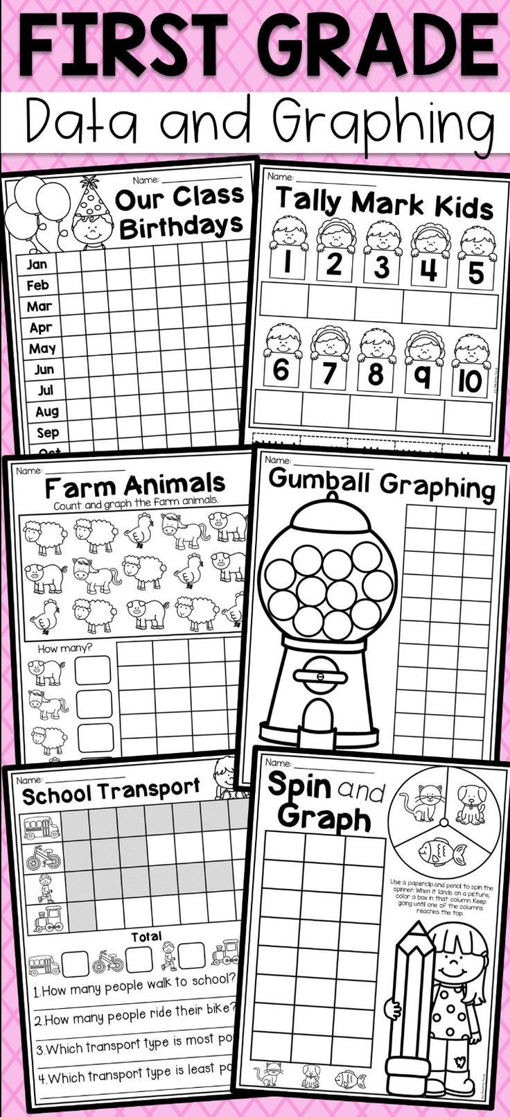 First Grade Data and Graphing Worksheets Distance Learning