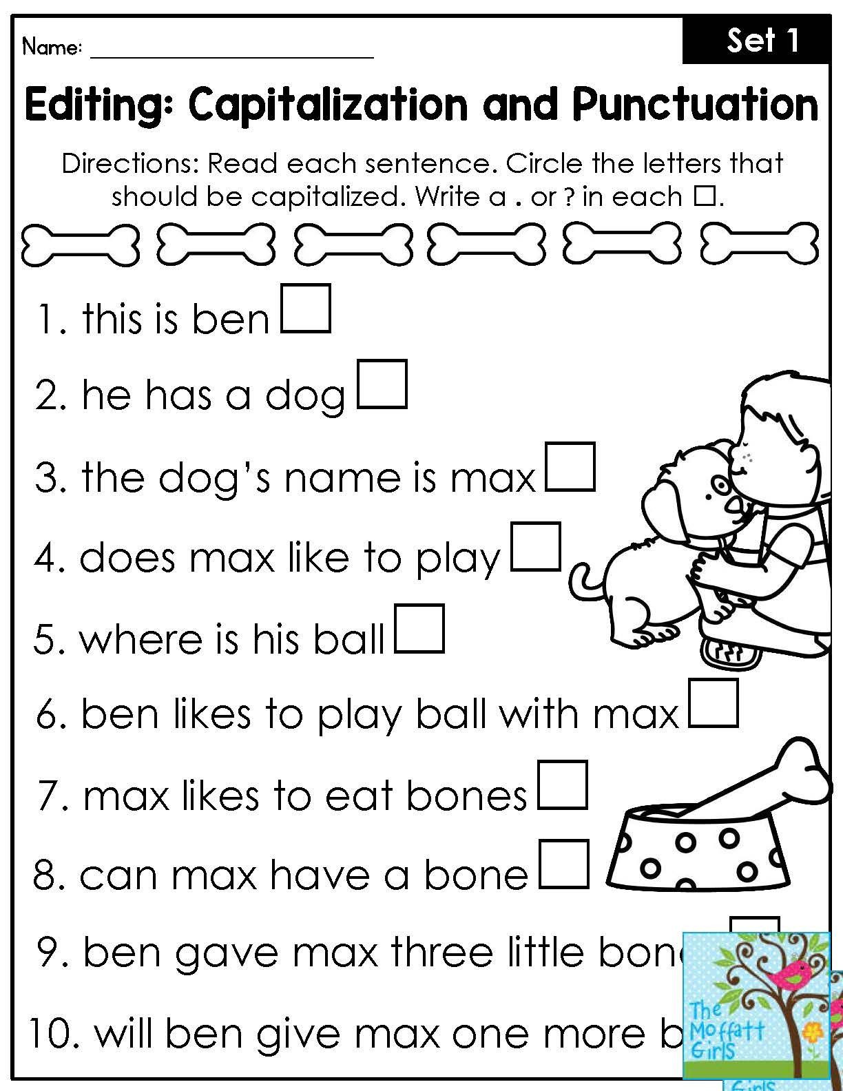 First Grade Punctuation Worksheets Mastering Grammar and Language Arts