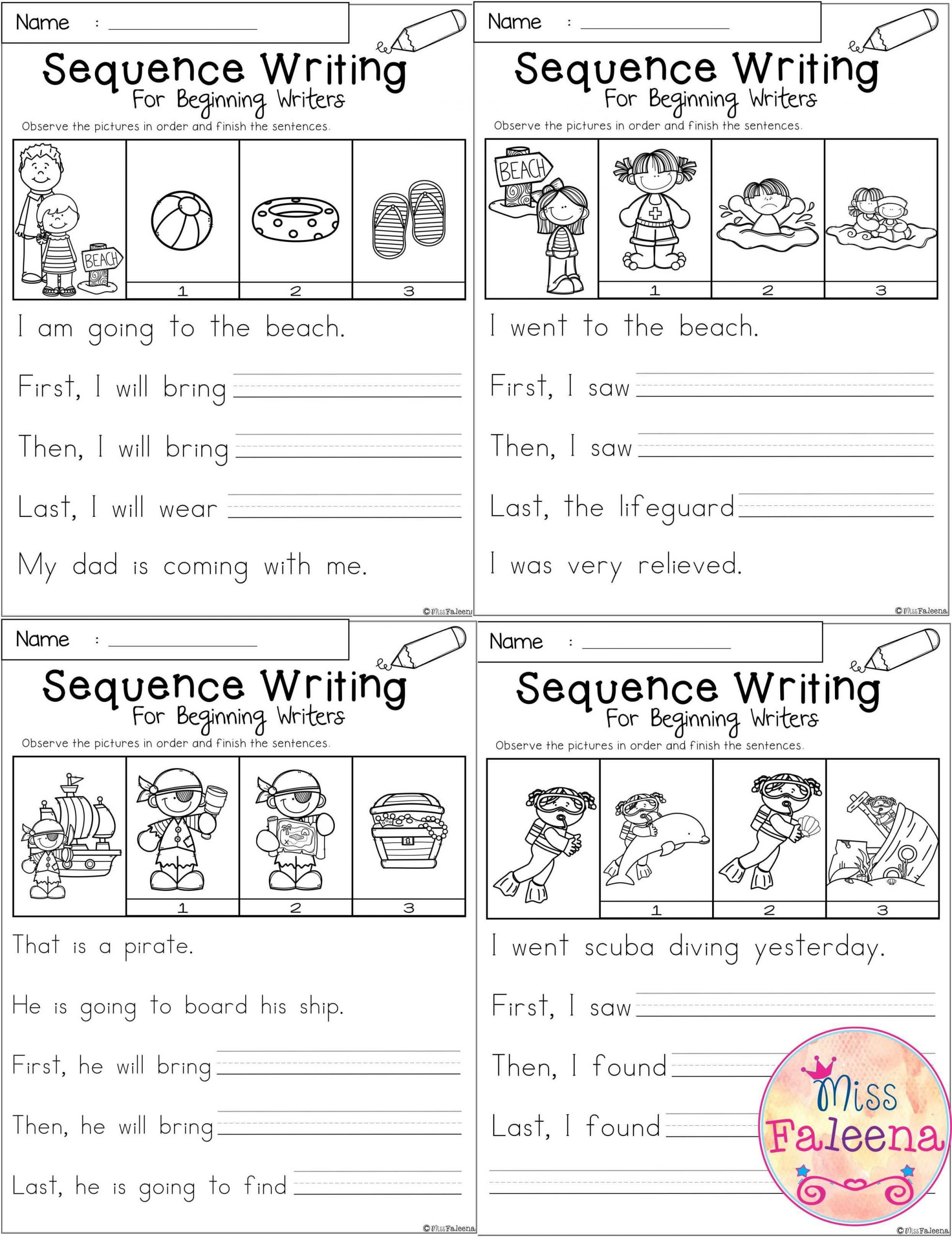 First Grade Sequencing Worksheets August Sequence Writing for Beginning Writers