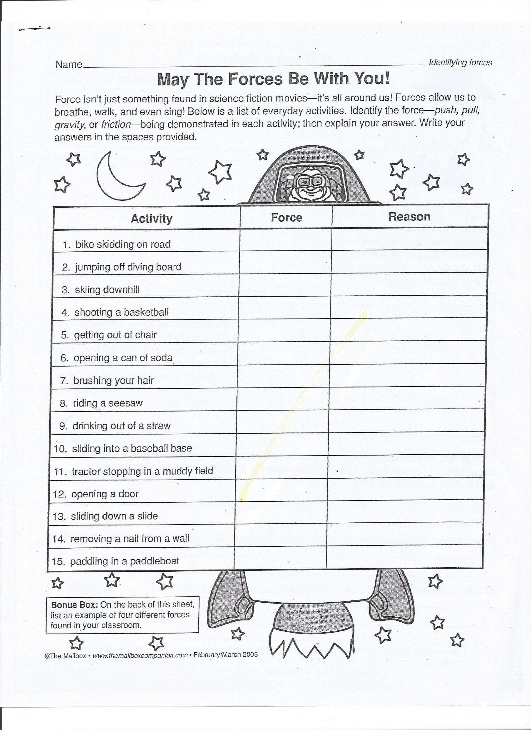 Force and Motion Printable Worksheets Balanced and Unbalanced forces Worksheet 13 1700—2338