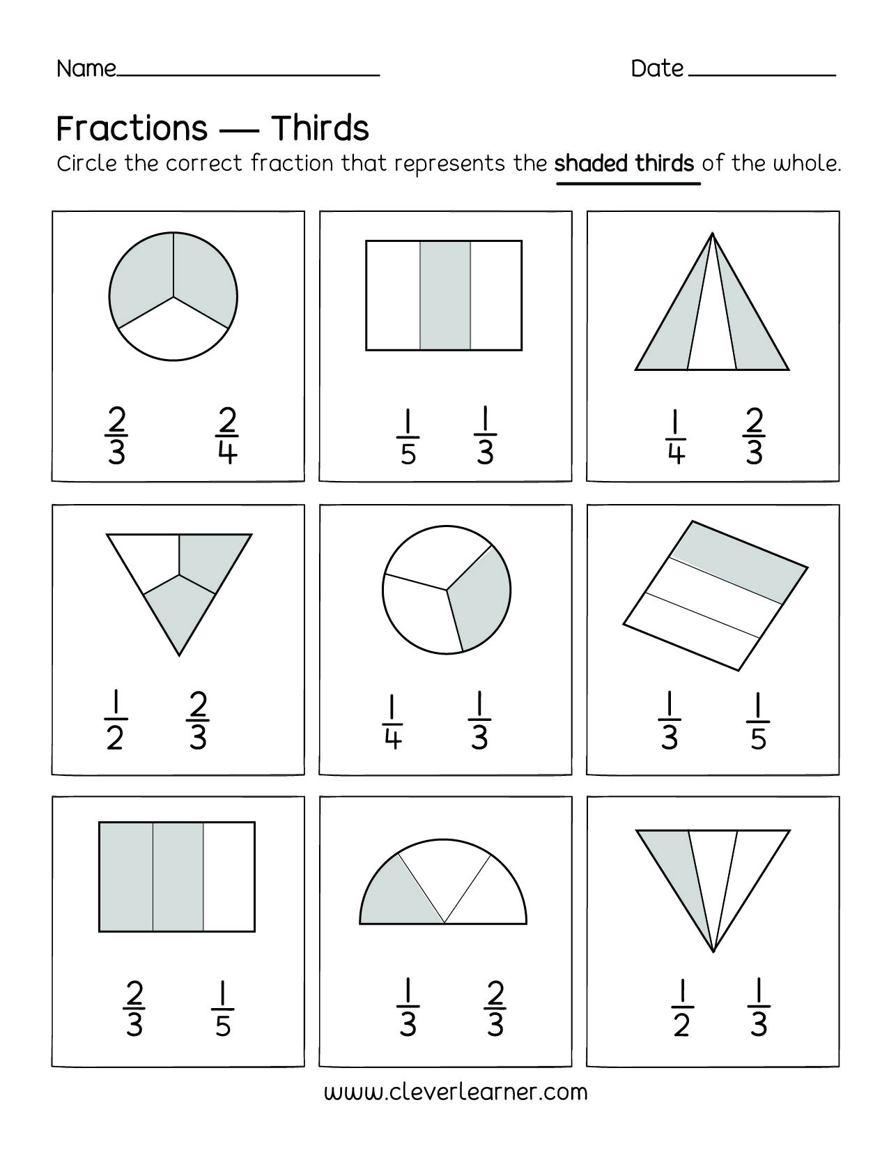 Fraction Worksheets First Grade Fun Activity Fractions Thirds Worksheets for Children