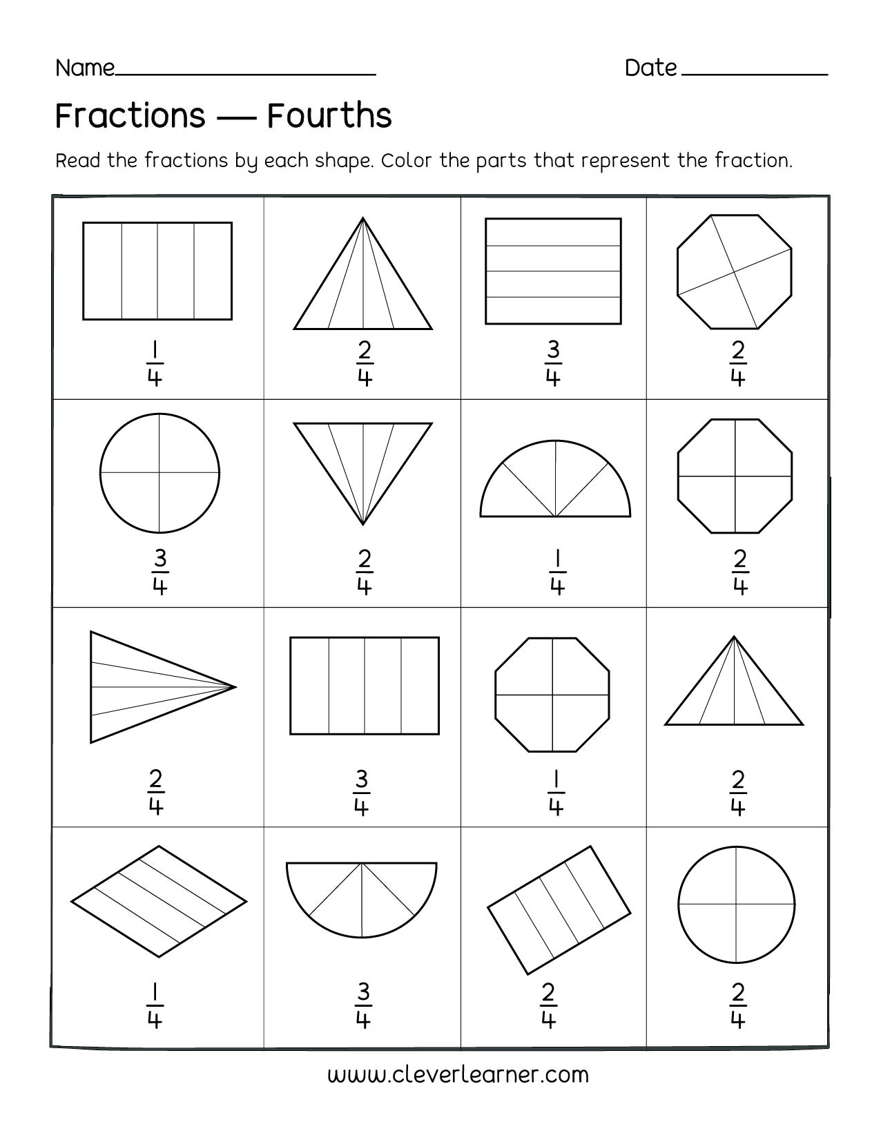 Fraction Worksheets First Grade Fun Activity On Fractions Fourths Worksheets for Children