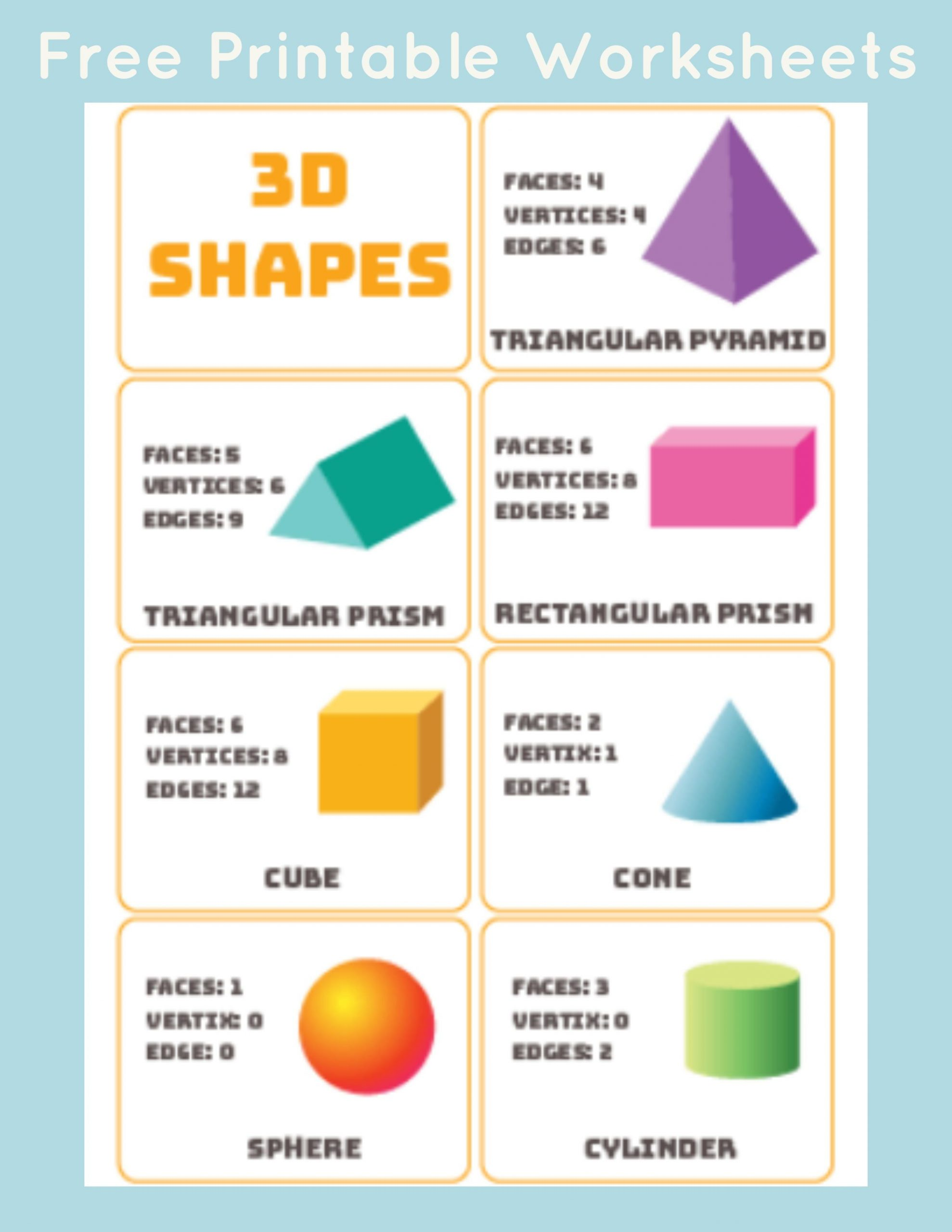 Free Printable 3d Shapes Worksheets 3d Shapes Word Mat Poster
