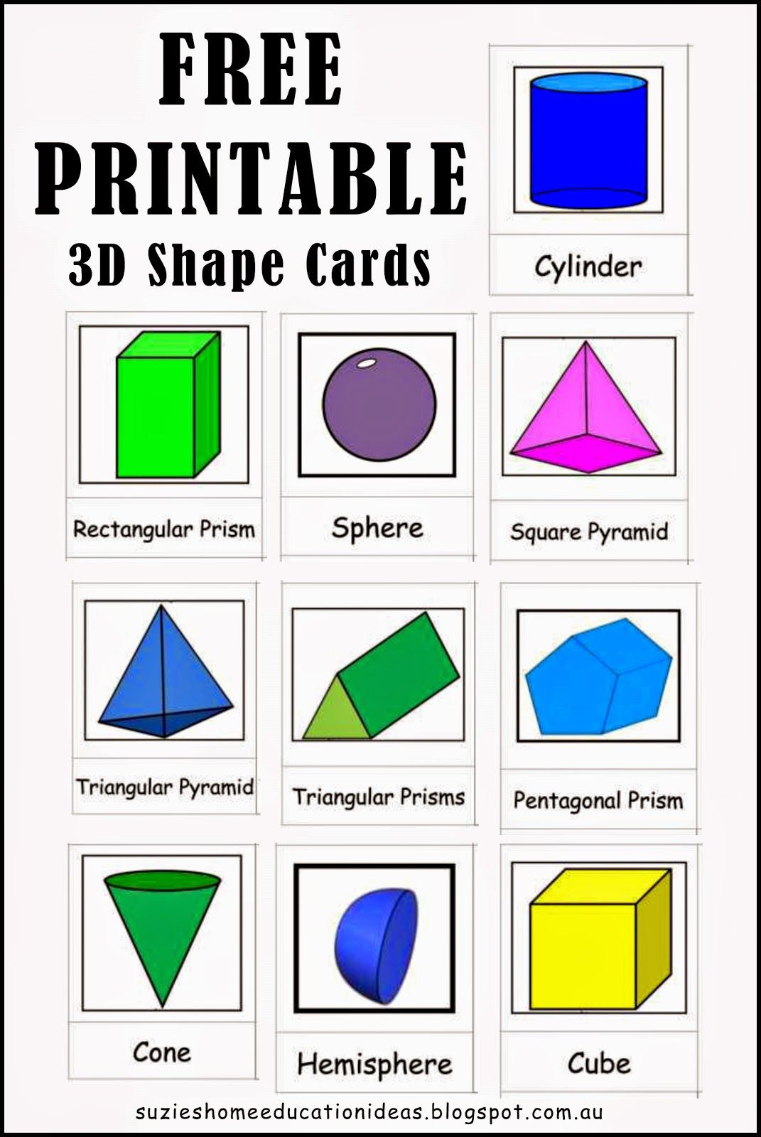 Free Printable 3d Shapes Worksheets Exploring 3d Shapes Free Printable 3d Shape Cards