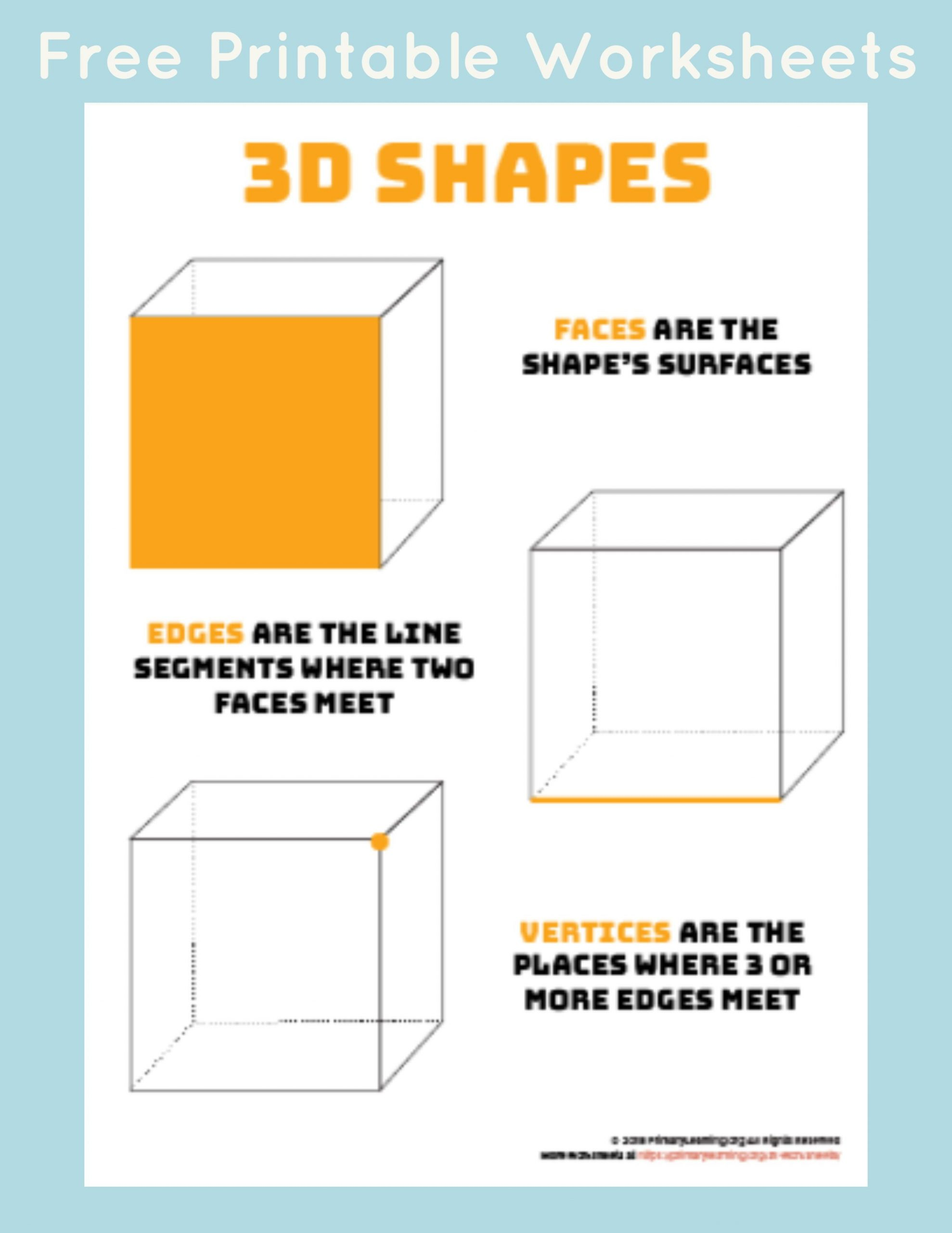 Free Printable 3d Shapes Worksheets Parts Of 3d Shapes Primarylearning