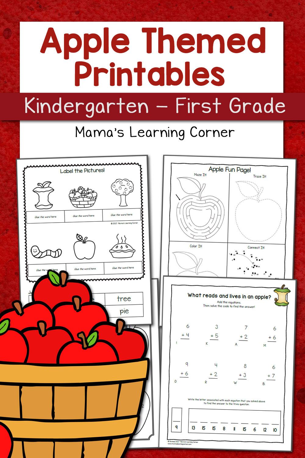 Free Printable Apple Worksheets Apple Worksheets for Kindergarten First Grade Mamas