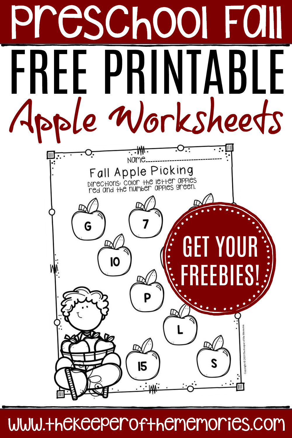 Free Printable Apple Worksheets for Preschoolers
