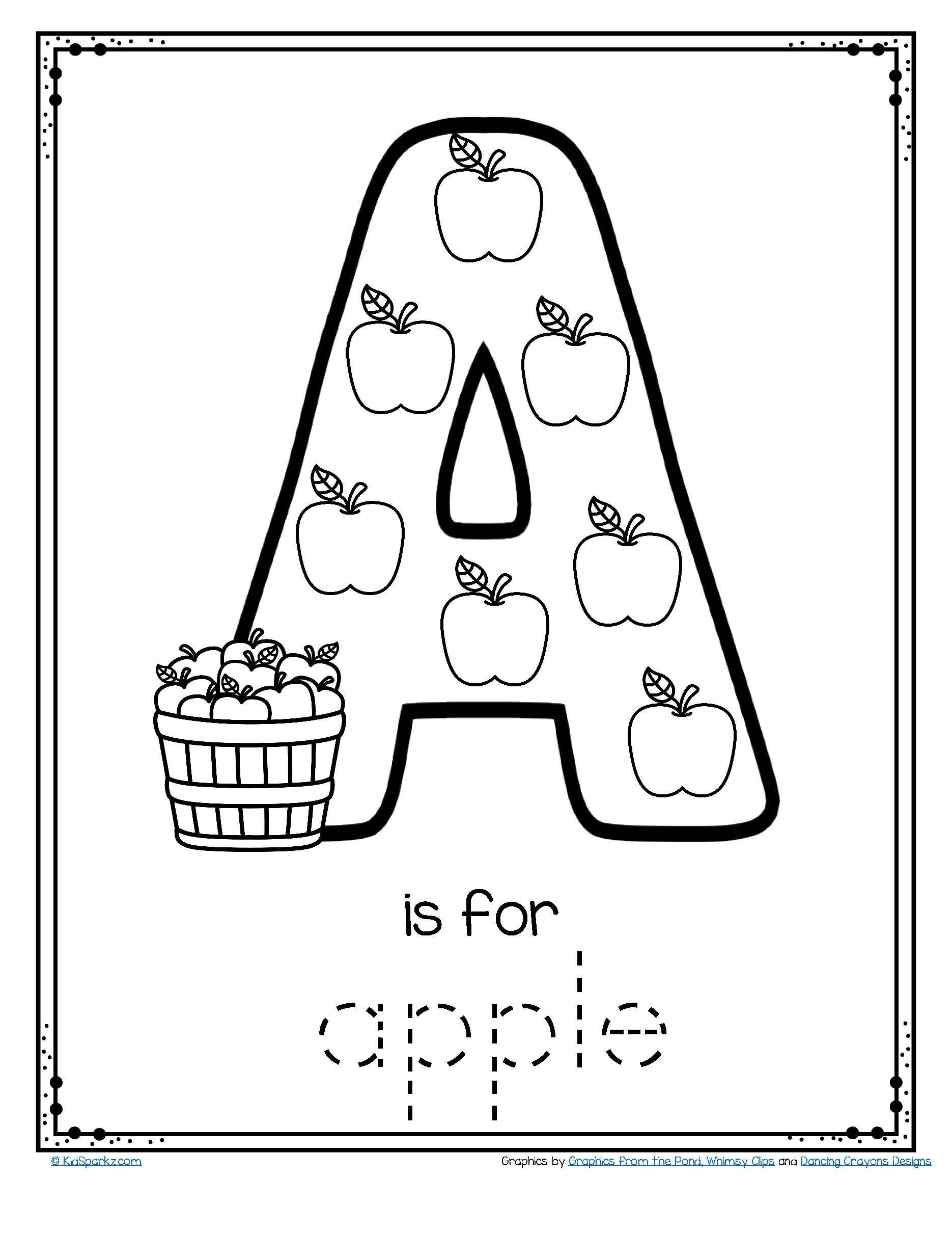 Free Printable Apple Worksheets Letter A is for Apple Trace and Color Printable Free