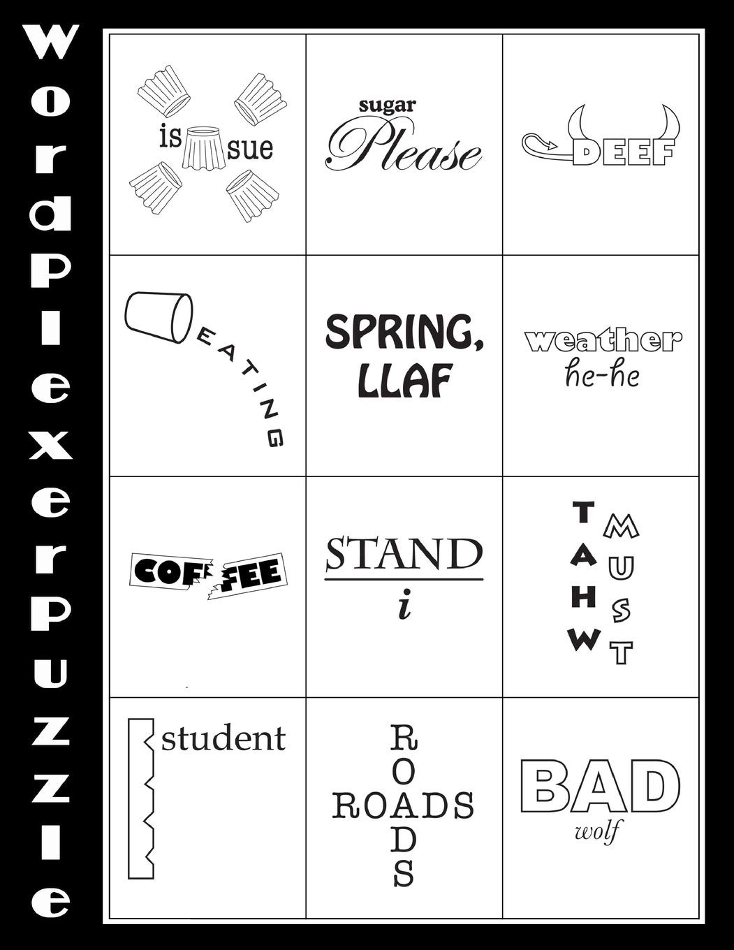 Free Printable Rebus Puzzles Word Plexer Puzzle Word Plexers are Word Based Puzzles that