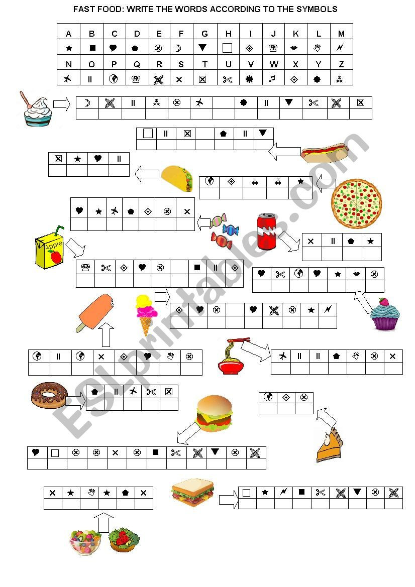 Free Printable Secret Code Worksheets Fast Food Secret Code Esl Worksheet by Arswitzel