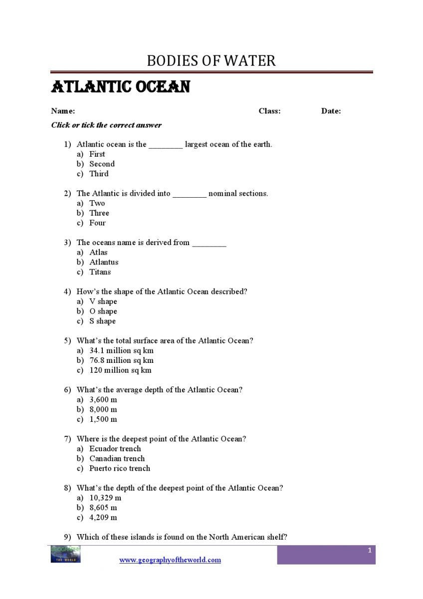 Geography Worksheets Middle School Pdf Bo S Of Water Questions and Answers Geography Printable