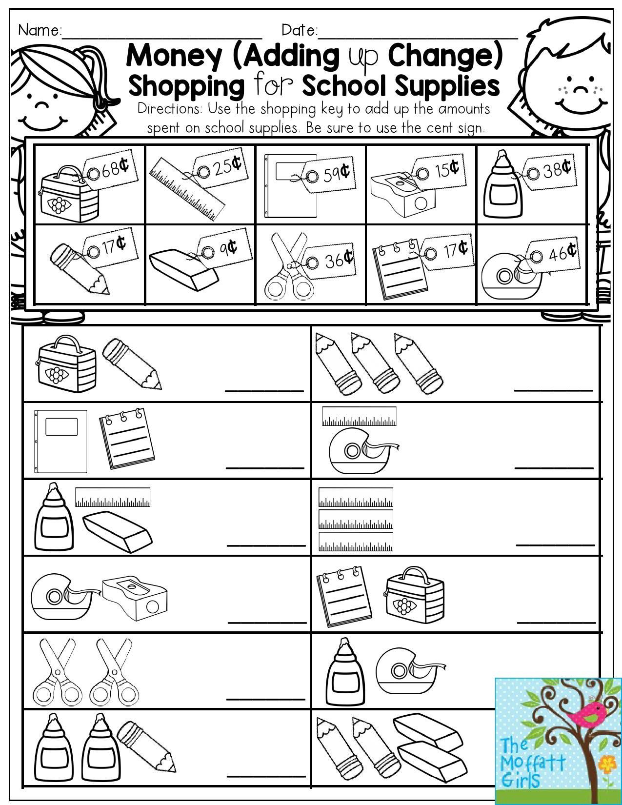 Grocery Shopping Math Worksheets Back to School Packets