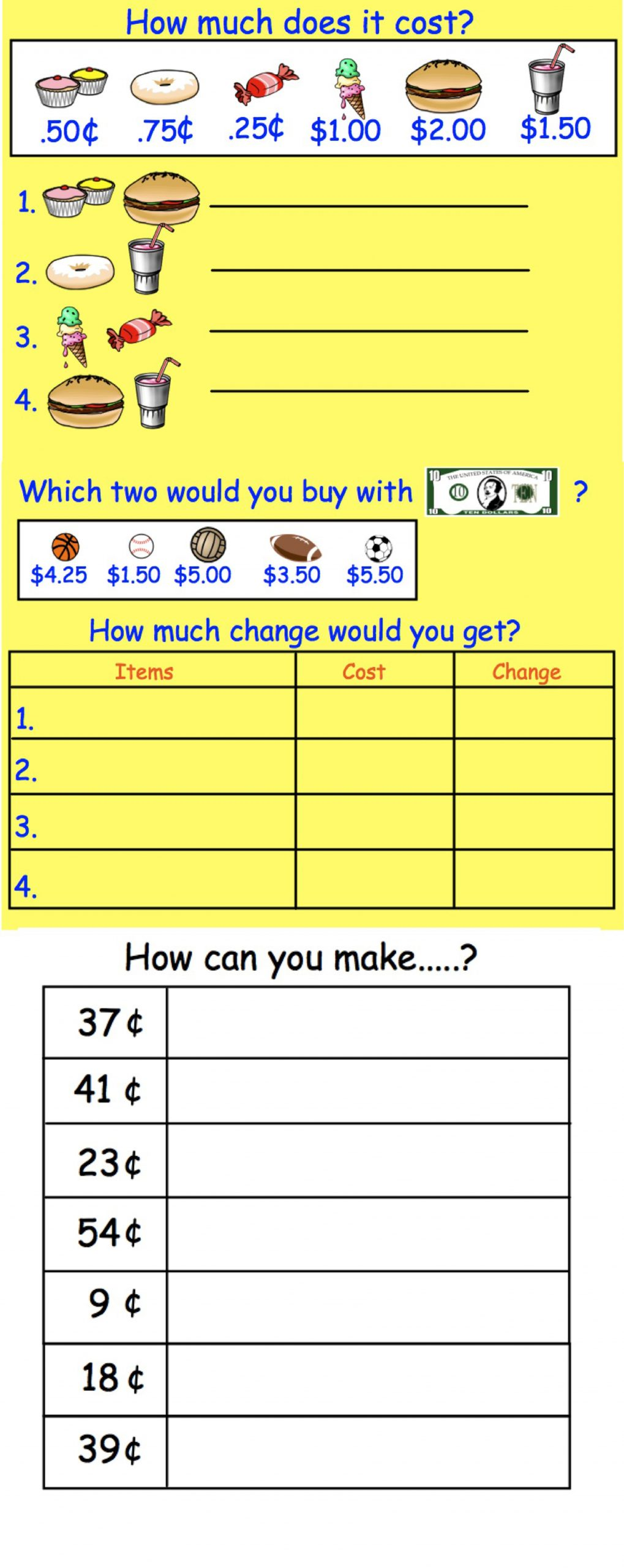 Grocery Shopping Math Worksheets Interactive Smartboard Money Activities for Gr 2 3 Us Coins
