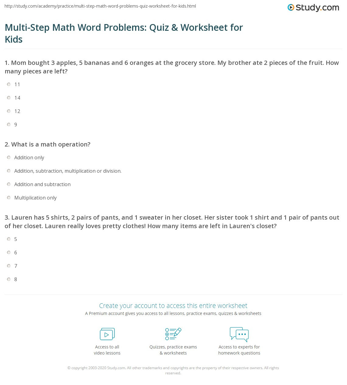 Grocery Store Math Worksheets Multi Step Math Word Problems Quiz & Worksheet for Kids