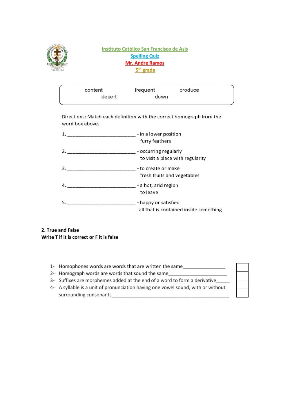 Homograph Worksheets 5th Grade Phonics Spelling Quiz Interactive Worksheet