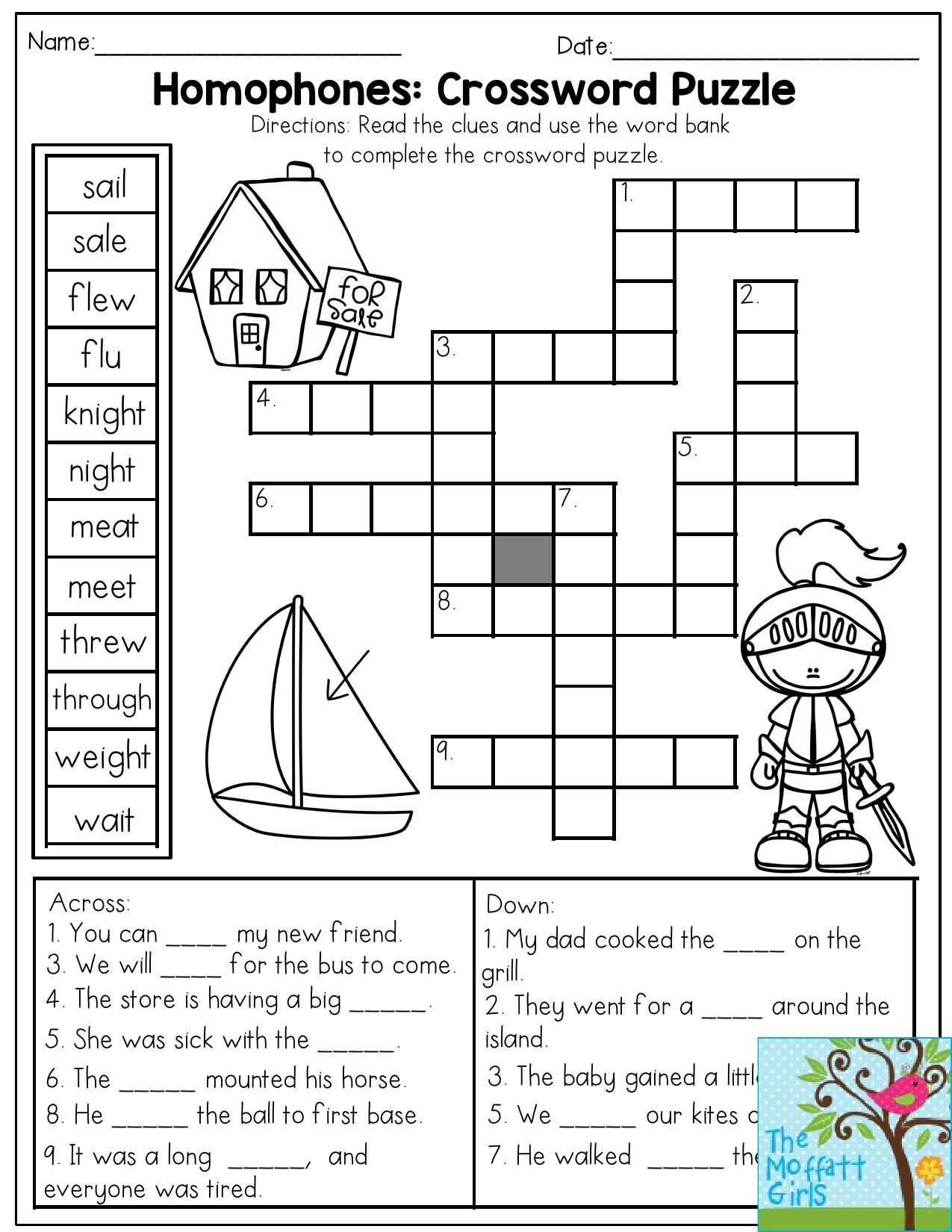 Homophones Worksheets 2nd Grade Homophones Crossword Puzzle Read the Clues and Use the