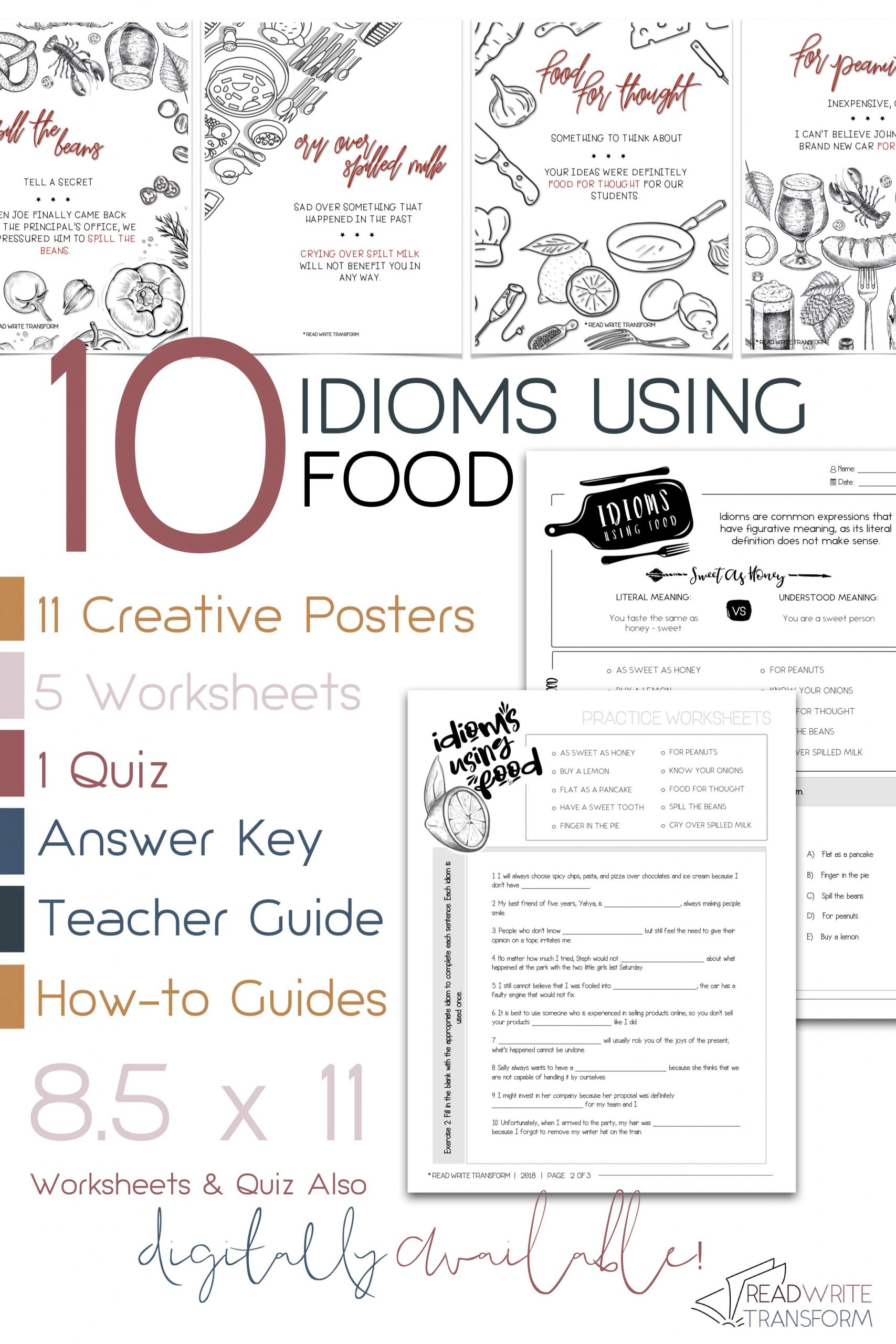 Idiom Worksheets for 2nd Grade 10 Idioms Using Food Posters Worksheets Quiz Digital