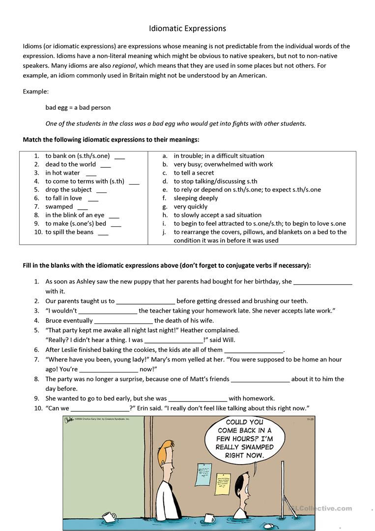 Idiom Worksheets for 2nd Grade Idiomatic Expression Worksheets