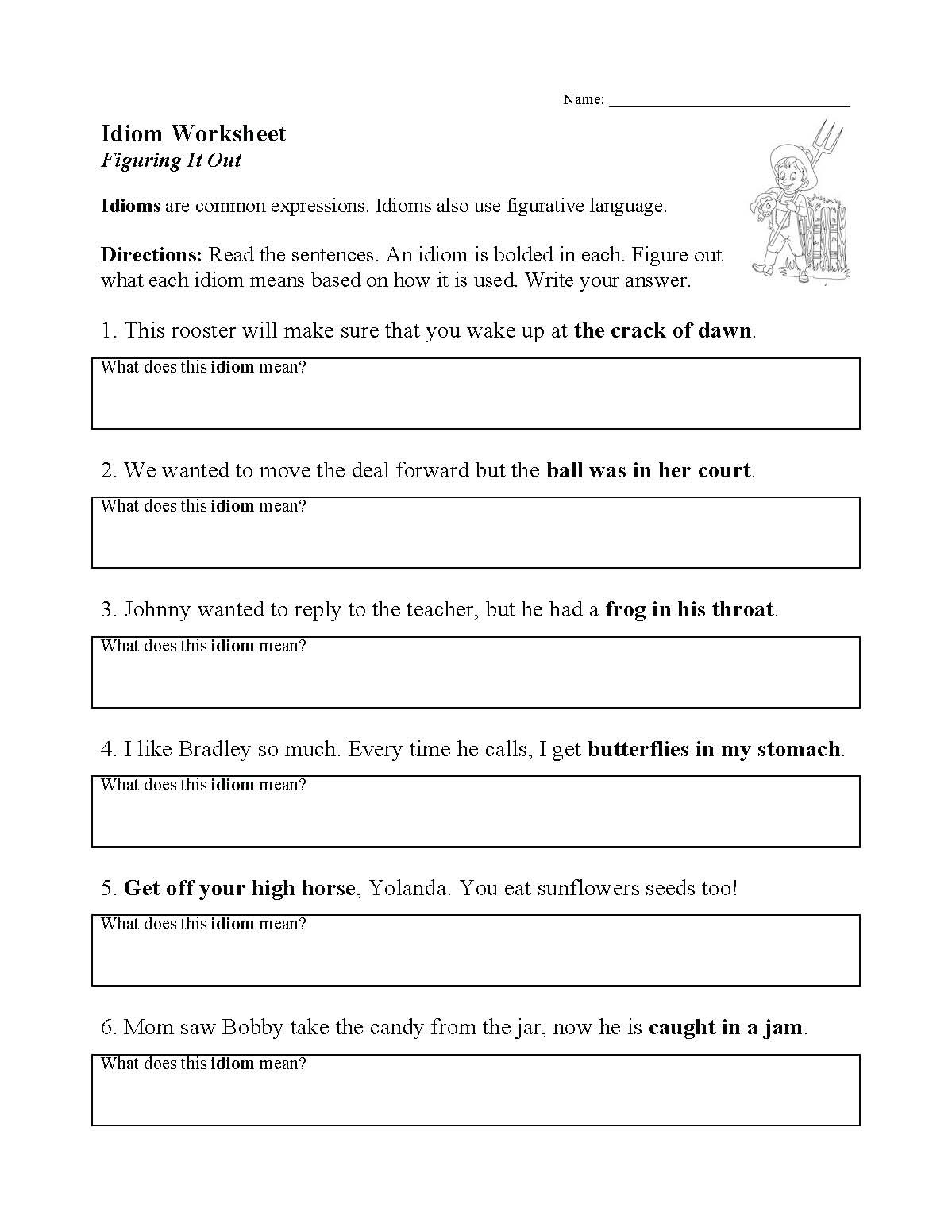 Idiom Worksheets for 2nd Grade Idioms Activity Worksheet