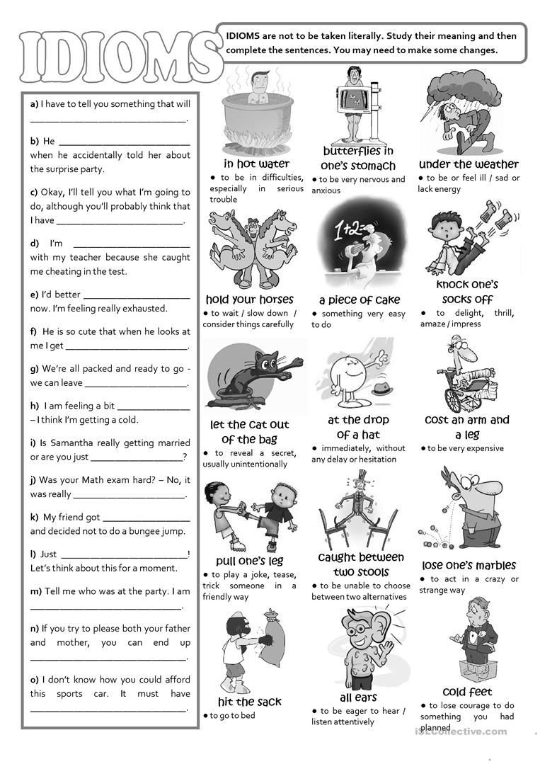 Idiom Worksheets for 2nd Grade Idioms