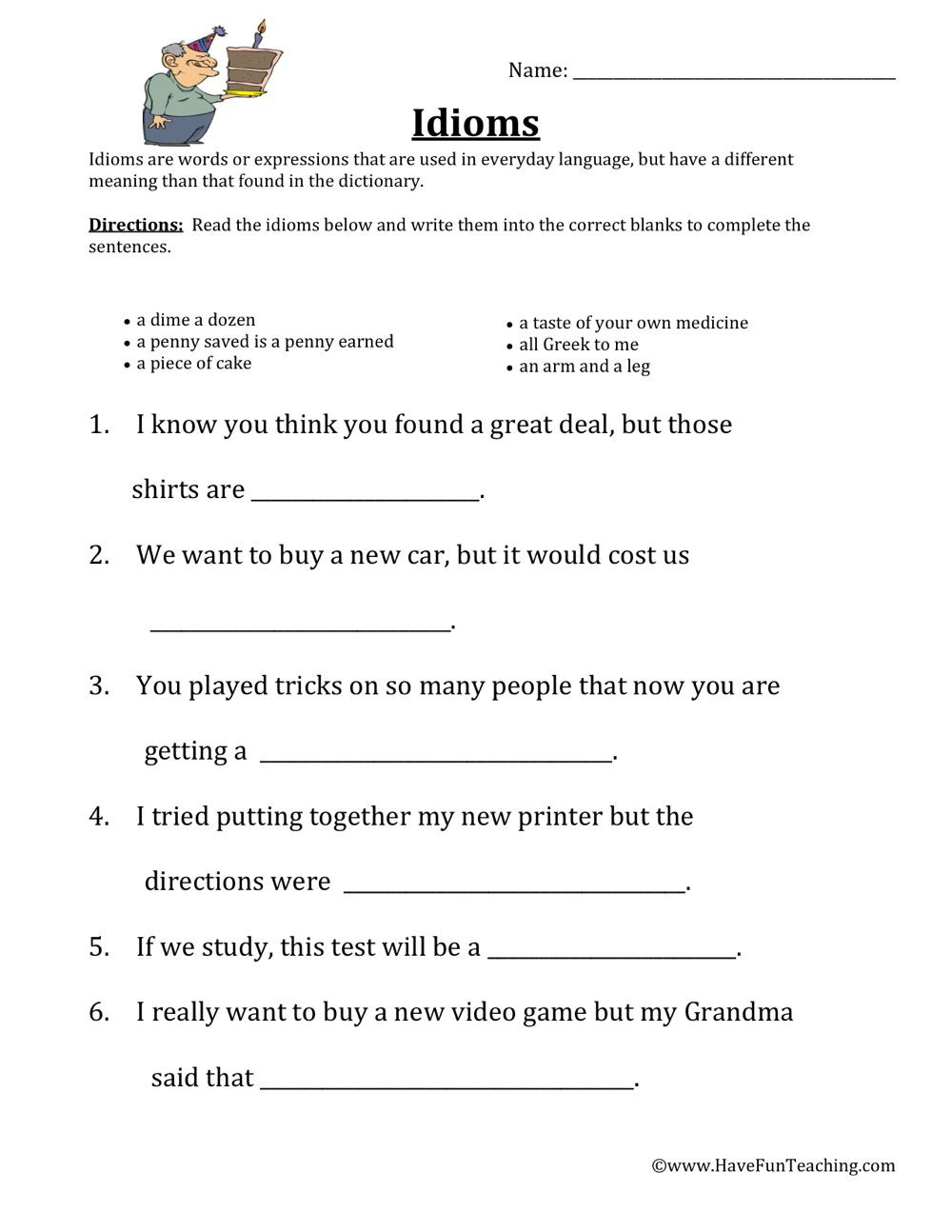 Idiom Worksheets for 2nd Grade Idioms Worksheet
