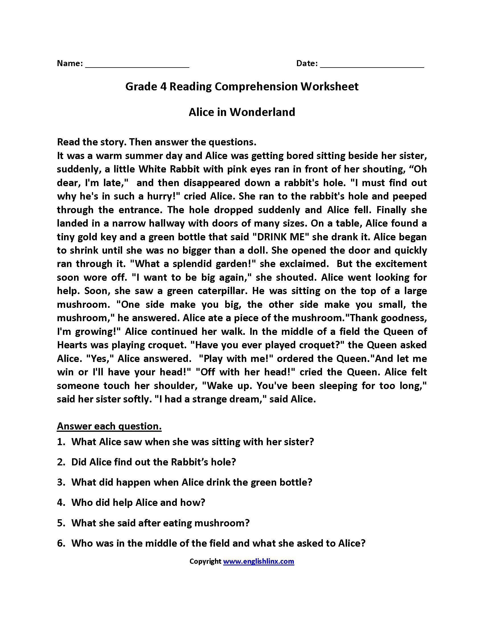 Inferencing Worksheets 4th Grade 4th Grade Reading Prehension Worksheets Pdf In 2020