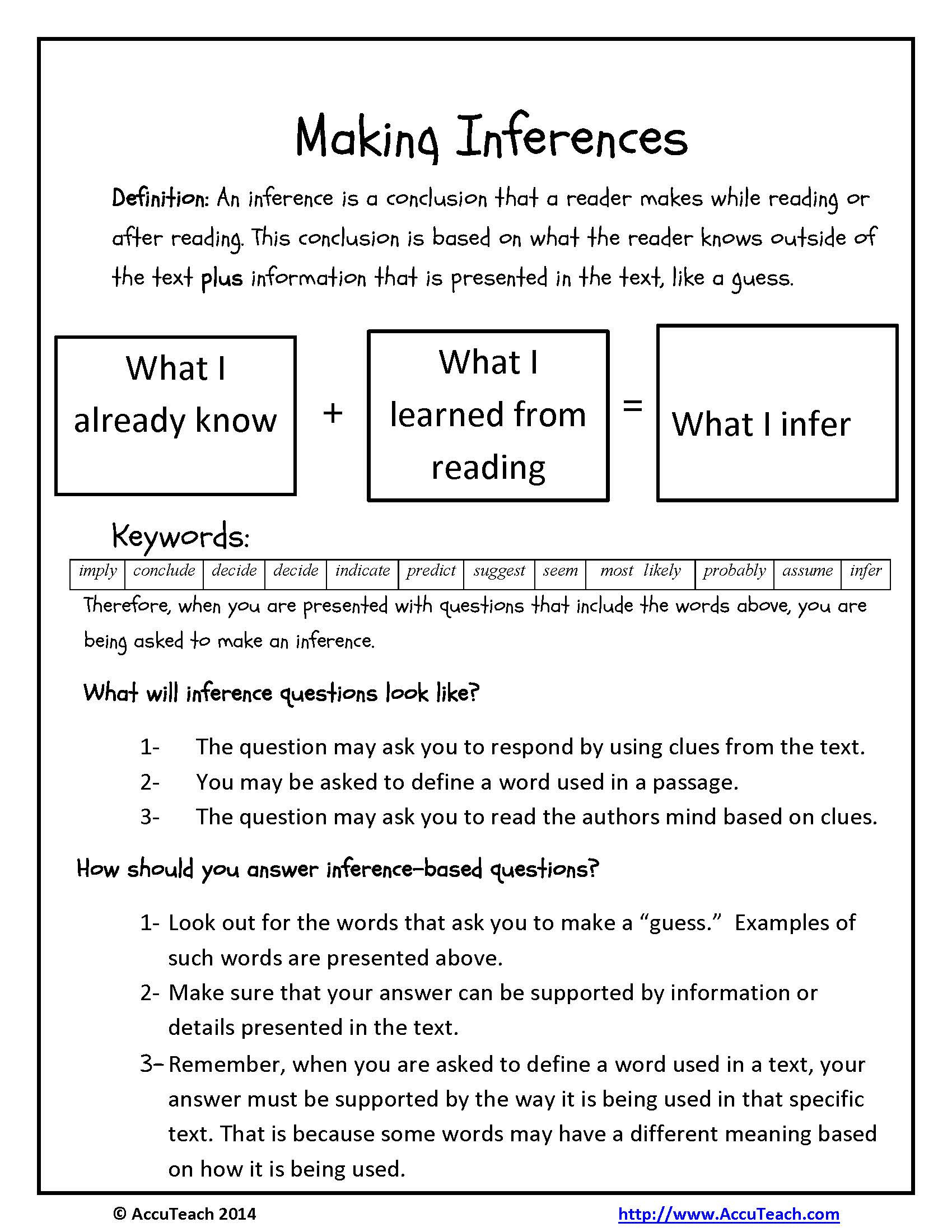 Inferencing Worksheets 4th Grade Inference Questions Reading Prehension