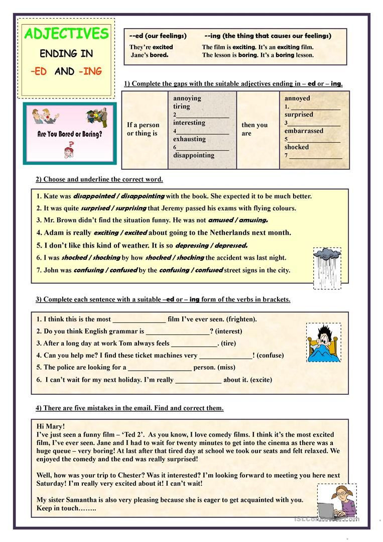 Ing Worksheets Grade 1 Adjectives Ending In Ed and Ing Exercises Worksheet