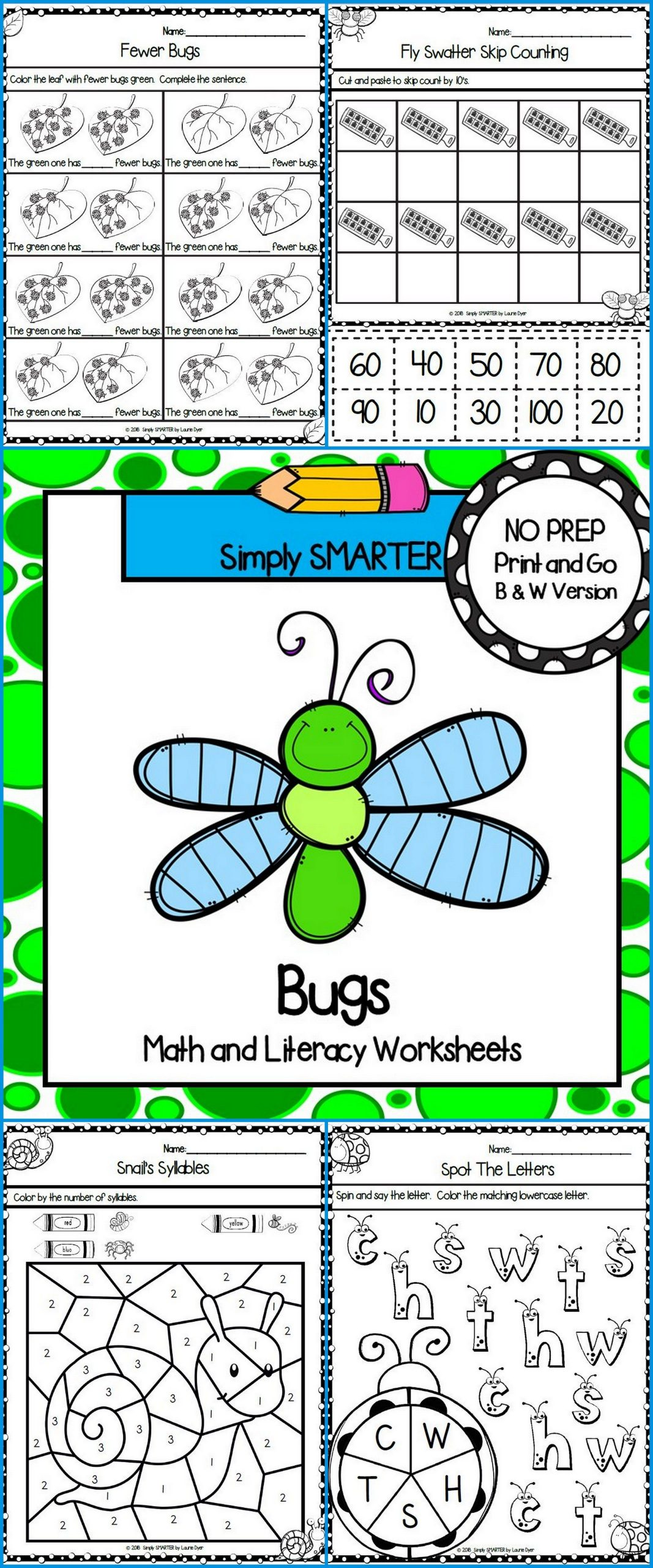 Insect Worksheets for First Grade Bug and Insect themed Kindergarten Math and Literacy