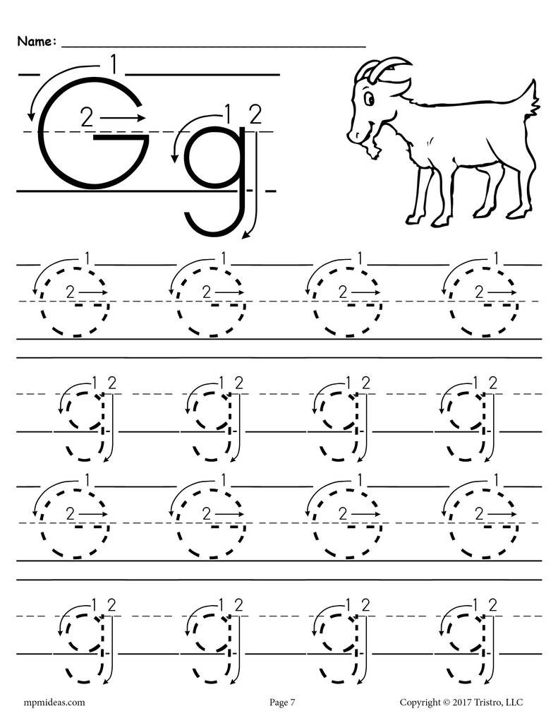 Letter G Tracing Worksheets Preschool Printable Letter G Tracing Worksheet with Number and Arrow Guides