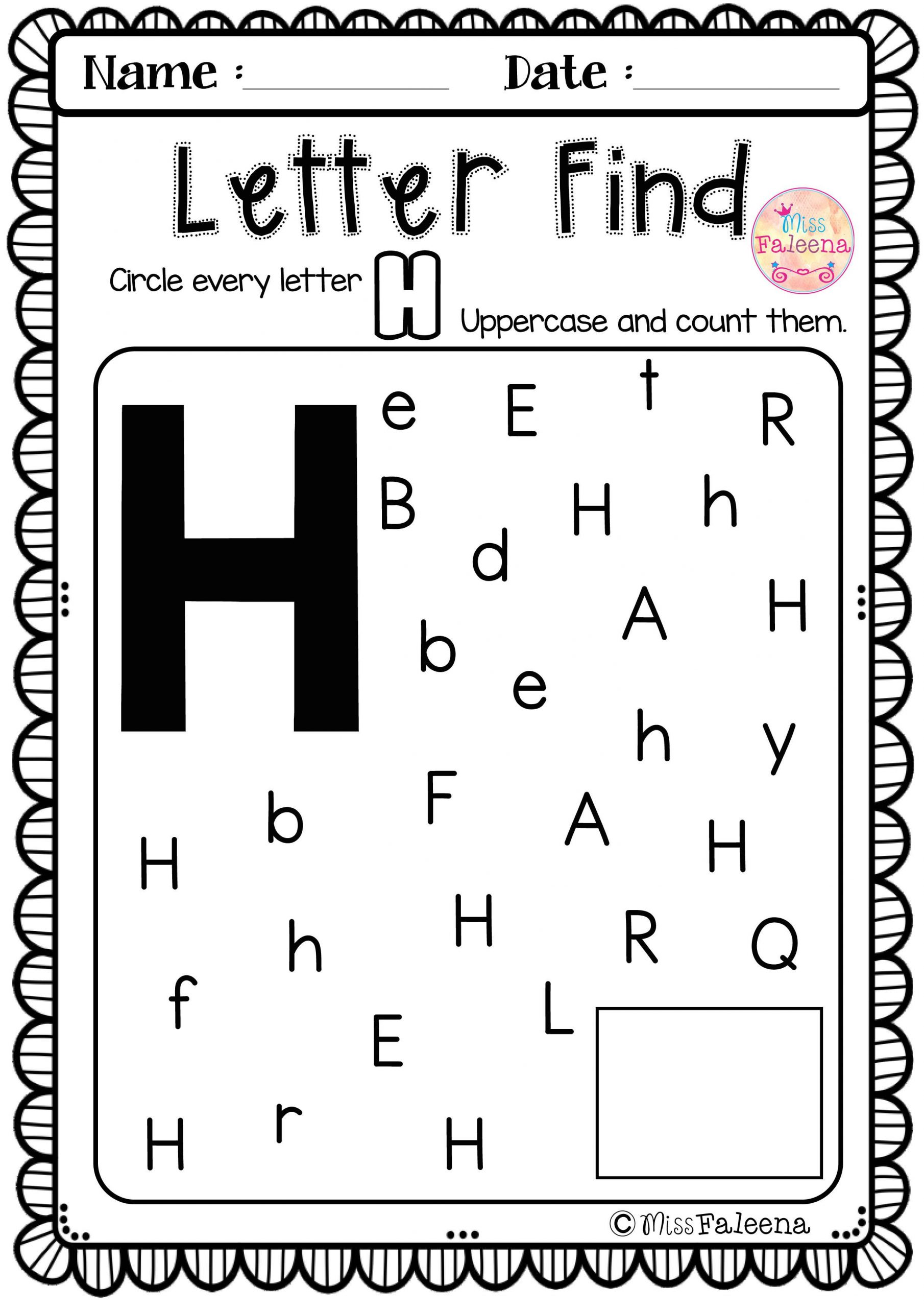 Letter H Worksheets for Preschool Alphabet Letter Of the Week H