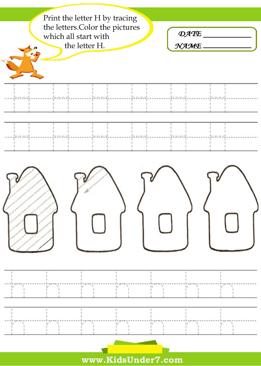Letter H Worksheets for Preschool Kids Under 7 Alphabet Worksheets Trace and Print Letter H