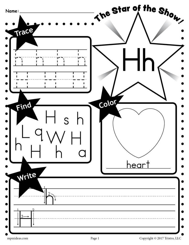 Letter H Worksheets for Preschool Letter H Worksheet Tracing Coloring Writing & More