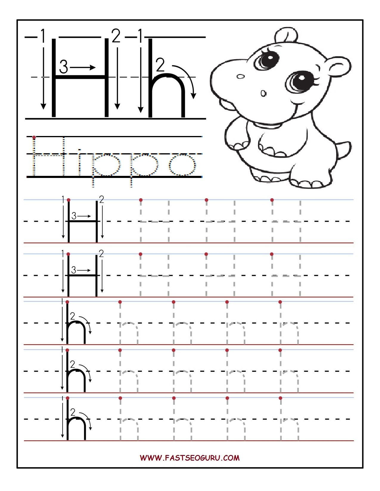 Printable letter H tracing worksheets for preschool
