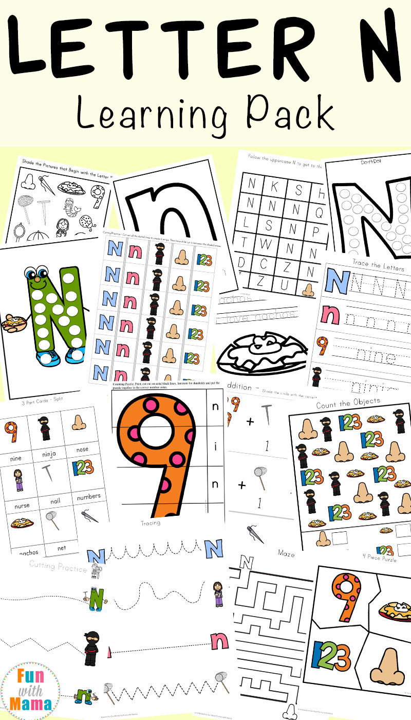 Letter N Worksheets for Preschool Letter N Worksheets Fun with Mama