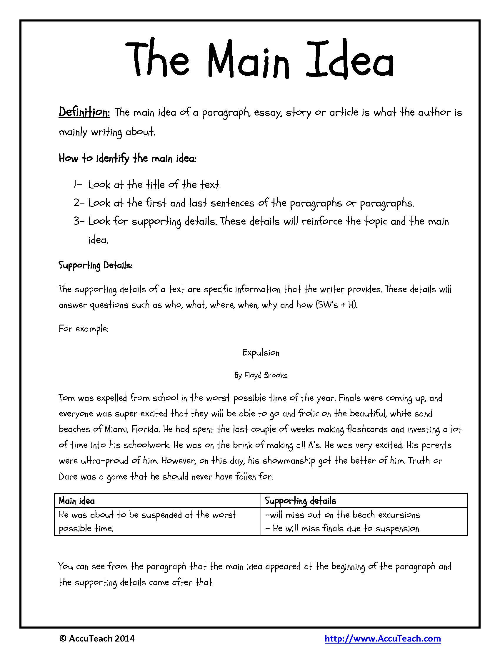 Main Idea Worksheets Middle School Central Idea Text Worksheet