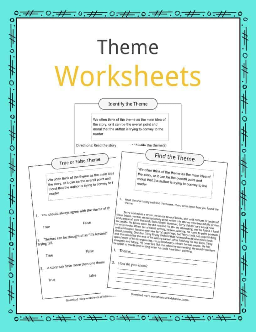 Main Idea Worksheets Middle School theme Worksheets Examples & Description for Kids On