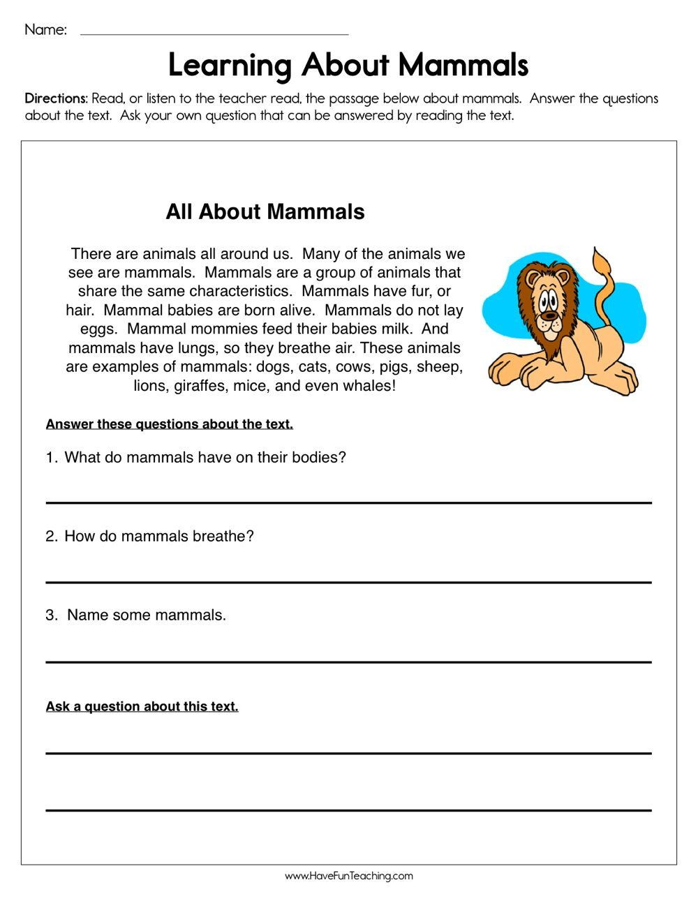 Mammals Worksheet First Grade Mammals Reading Prehension