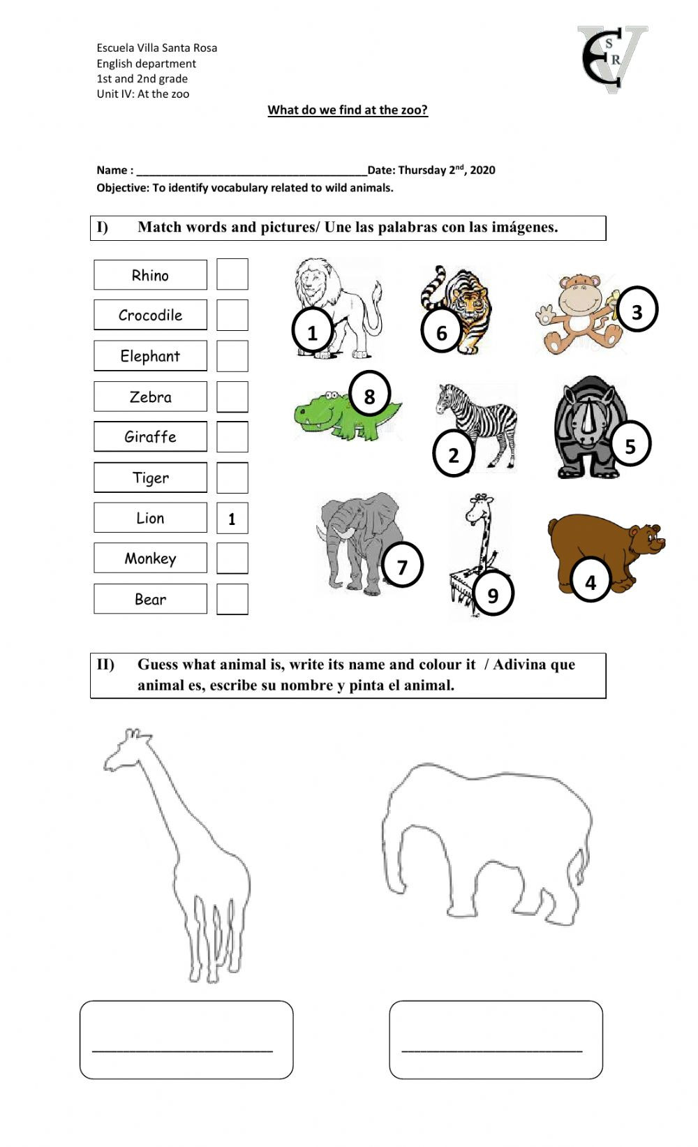 Mammals Worksheets for 2nd Grade at the Zoo Interactive Worksheet