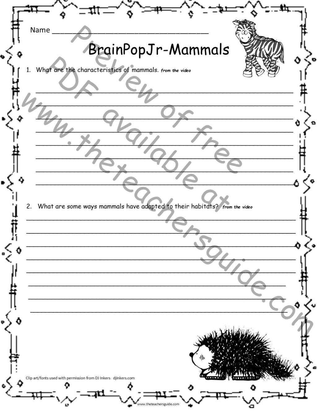 Mammals Worksheets for 2nd Grade Worksheet Scienceorksheets for 2nd Grade the Teachers