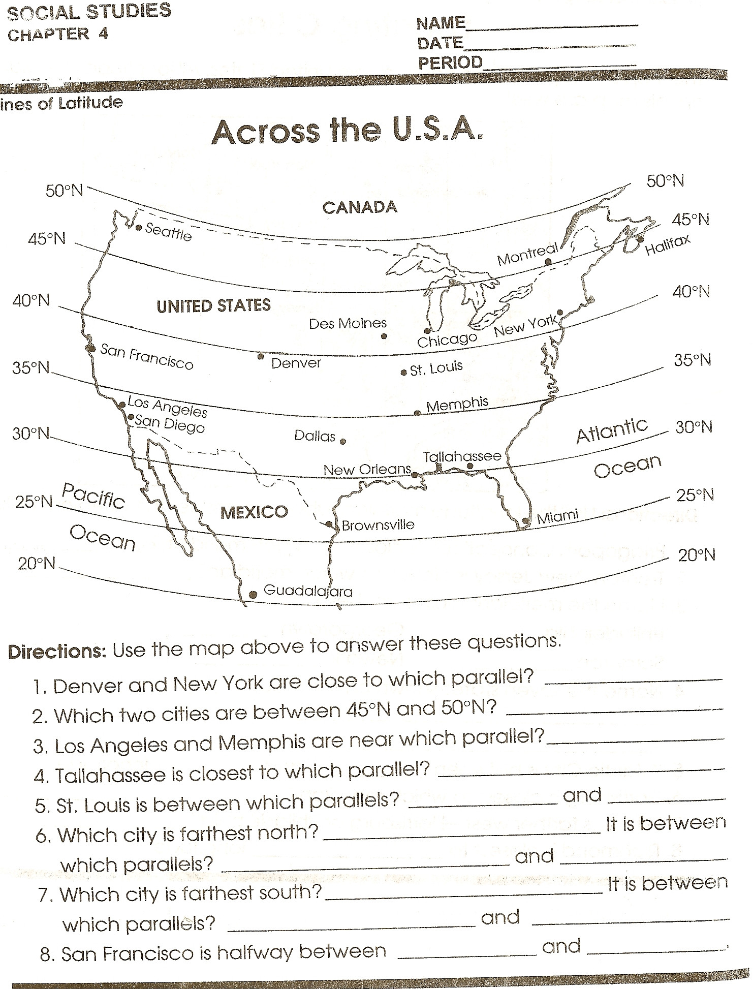 Map Skills Worksheet 4th Grade Second Grade Map Skills Worksheets
