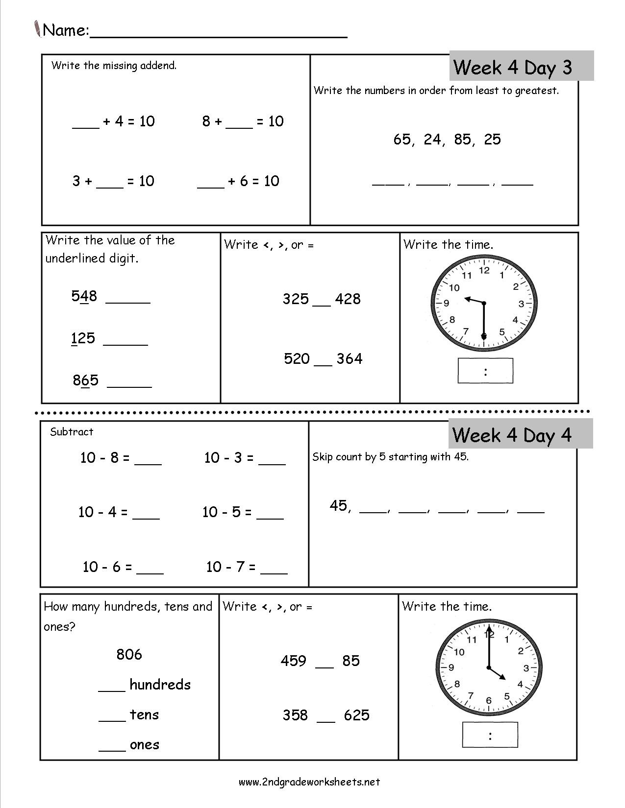 Map Worksheets for 2nd Grade 2nd Grade Daily Math Worksheets