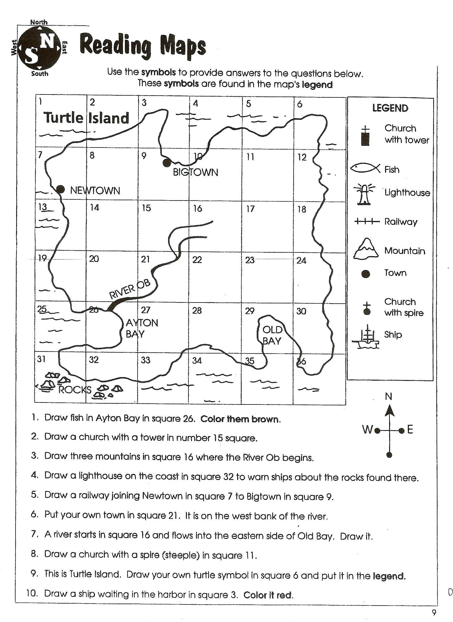 Map Worksheets for 2nd Grade Map Skill Worksheets 2nd Grade In 2020