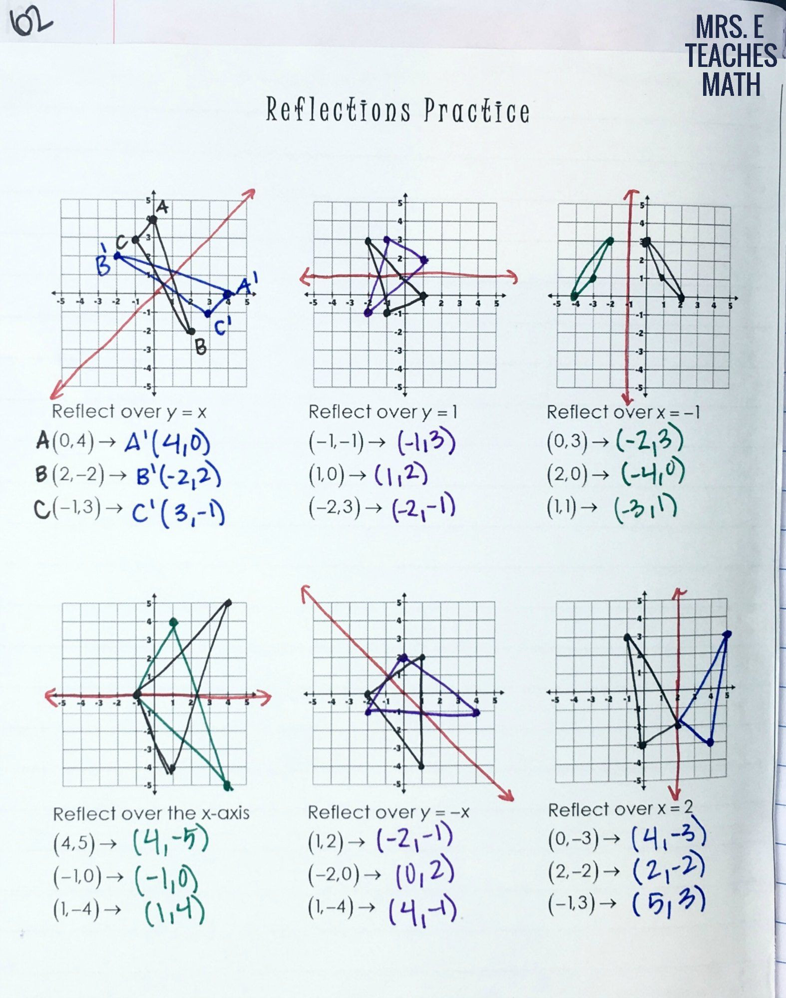 Math Aids Reflections Reflections Practice Page for Geometry Interactive Notebooks