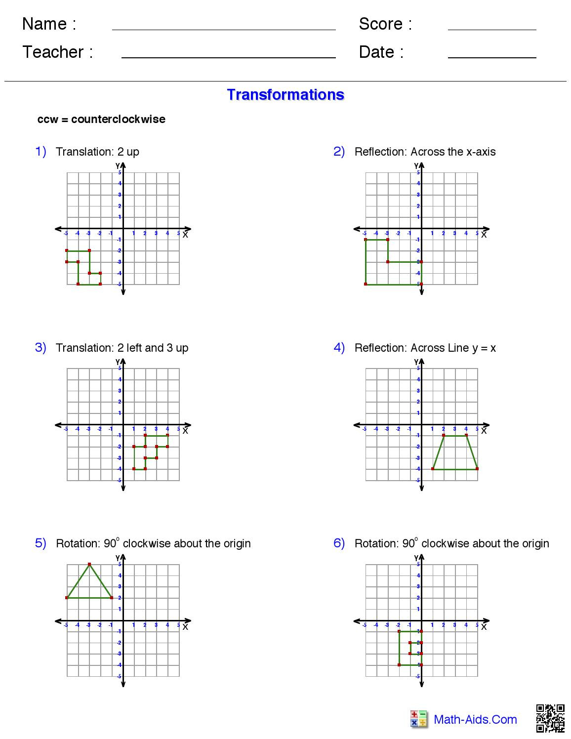 Transformations Work Sheet from Math Aids by Morgan Aue