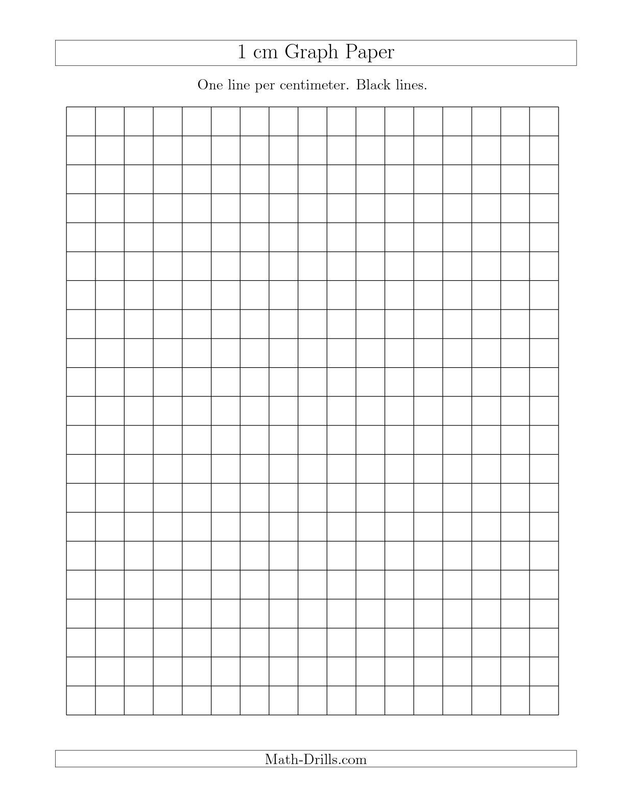 Math Drills Graph Paper the 1 Cm Graph Paper with Black Lines A Math Worksheet