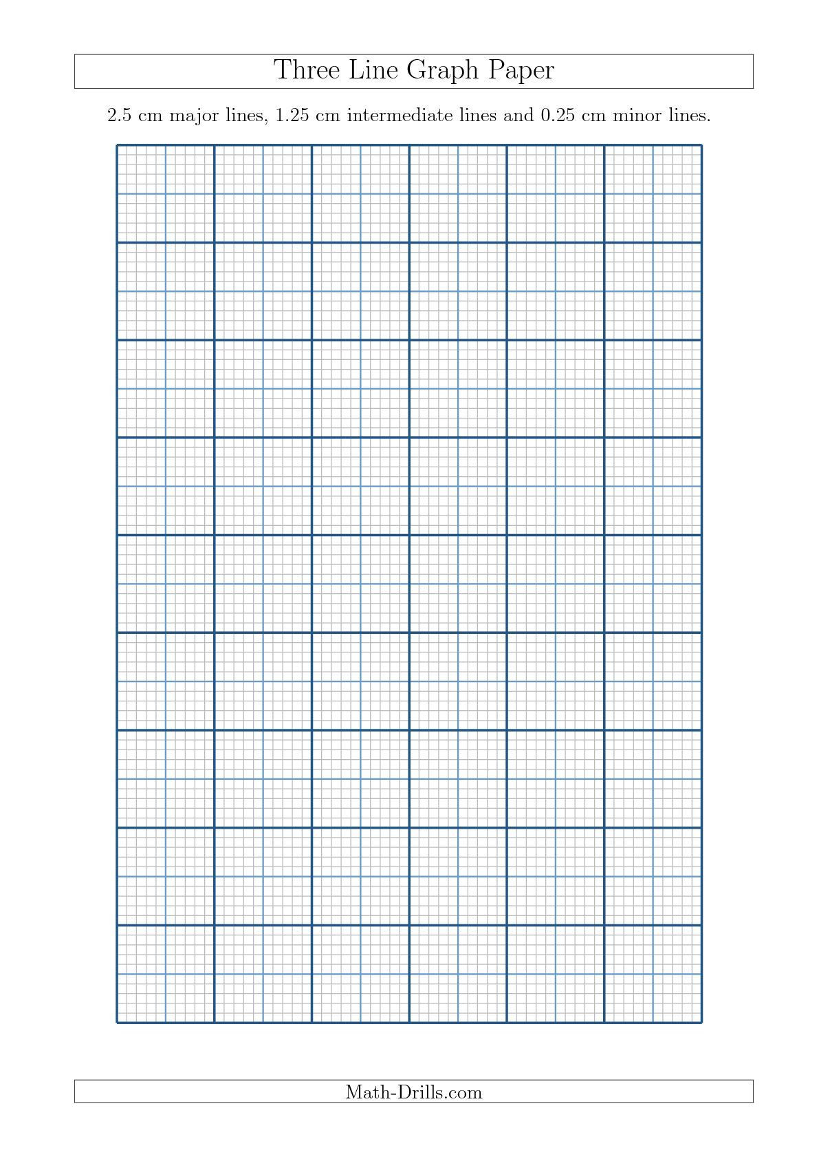 Math Drills Graph Paper Three Line Graph Paper with 2 5 Cm Major Lines 1 25 Cm