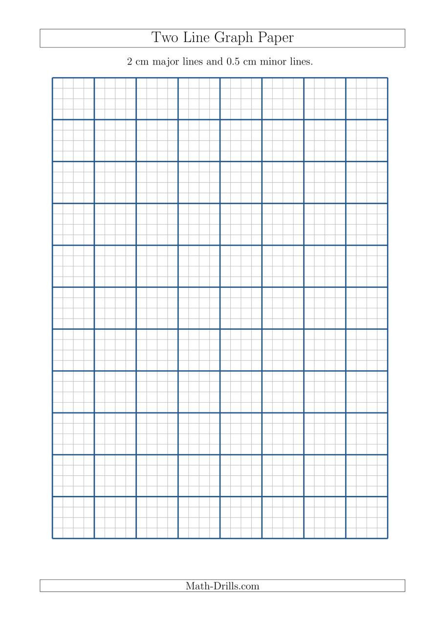 Math Drills Graph Paper Two Line Graph Paper with 2 Cm Major Lines and 0 5 Cm Minor